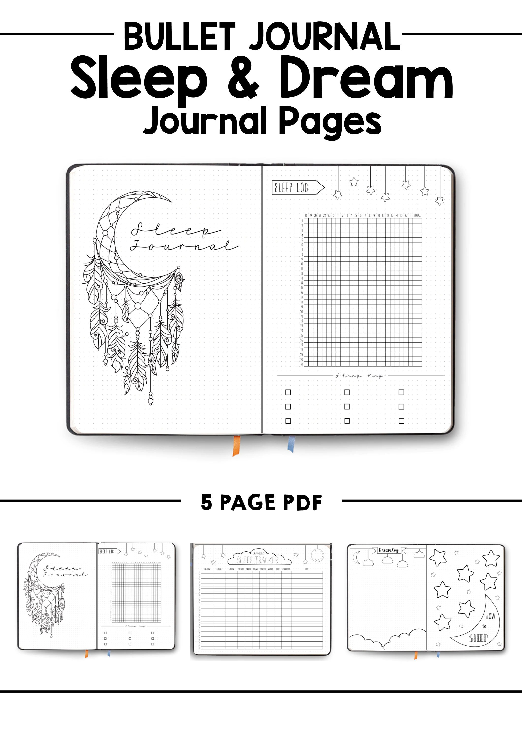 Sleep Journal Dream Log Bullet Journal Bujo Template