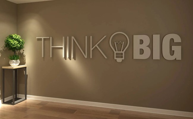 Think Big Office Wall Art Decor 3d Pvc Typography Etsy