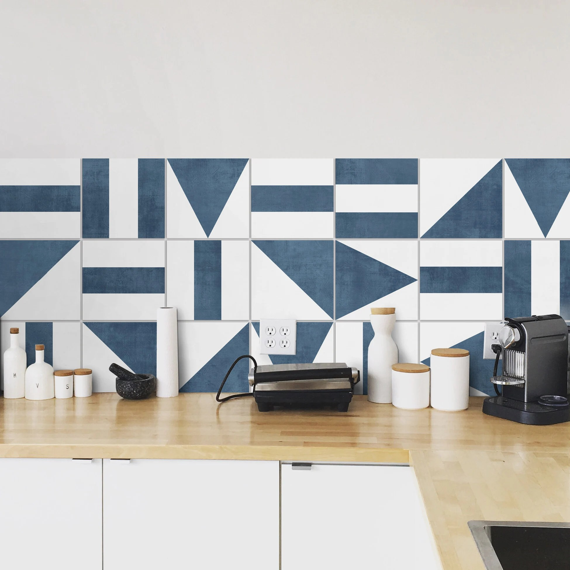 geometric blue backsplash tiles kitchen backsplash peel and etsy