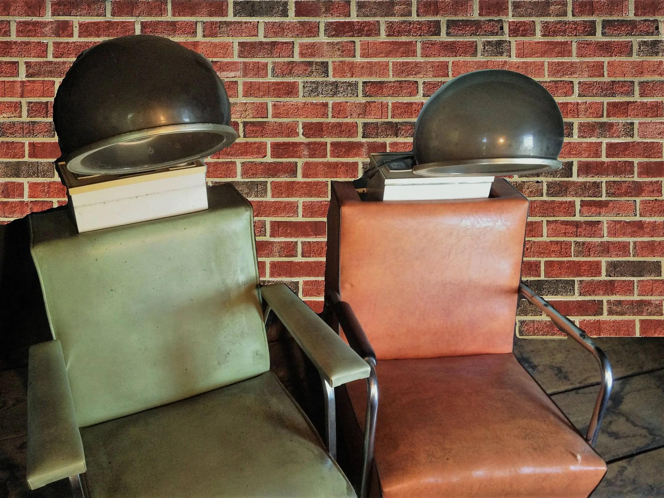 orange chair salon covers sure fit vintage chairs bubble dryer green stylist etsy image 0