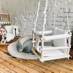 Baby Swing Chair Nz Tin Rail Indoor Outdoor Wooden With Natural Linen Padding Etsy