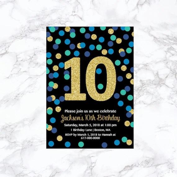 10th birthday invitation boy blue teal