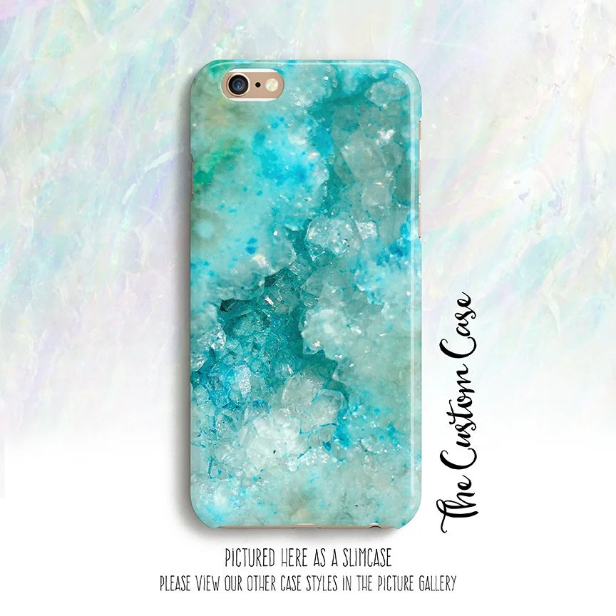 turquoise crystal phone case