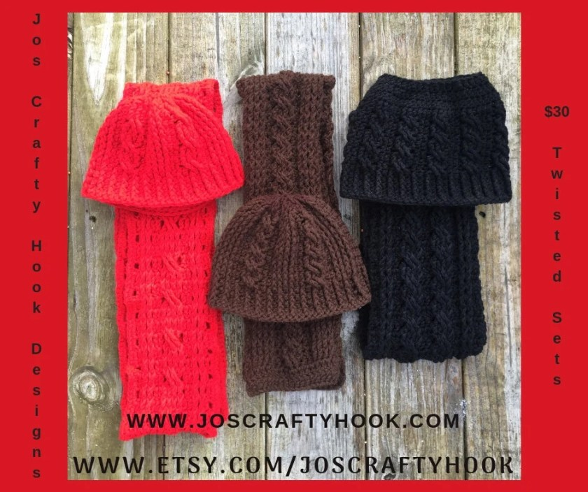 Hat & Scarf Set, Winter Hat and Scarf Set, Twisted Hat and Scarf, Winter Crochet Set, Child Size Hat and Scarf Set, Child Winter Set, Unisex