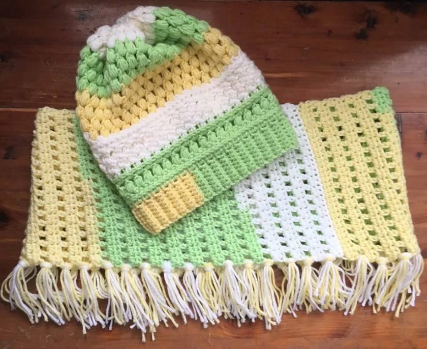 Slouchy Hat with Cowl-Crochet Slouchy Hat & Cowl-Melon Pop Hat and Cowl Set-Winter Set-Crochet-St Patricks Day-Teen/Large Adult Winter Set
