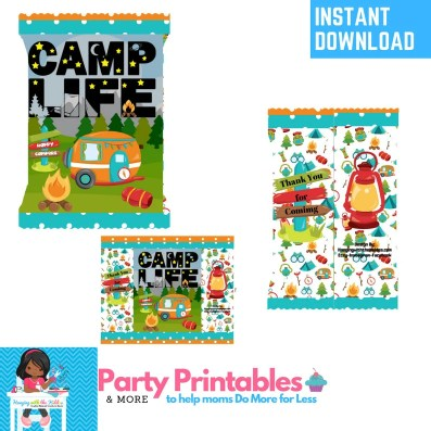 Summer Camp Camping Party Favors Chip Bags camping printable
