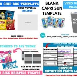 Save Blank Template Bundle Chip Bag Templaterice Krispies Etsy