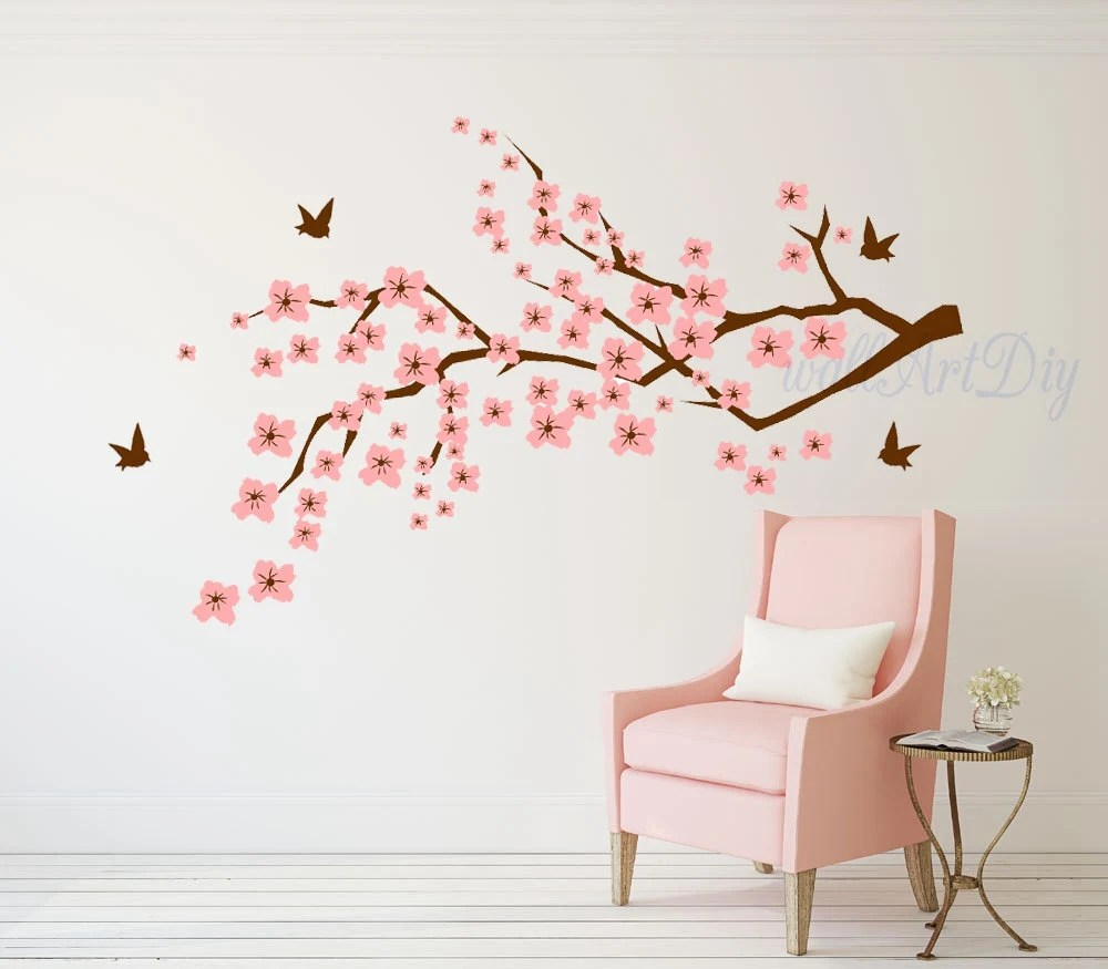 cherry blossom wall decal cherry tree branch wall decal pink etsy