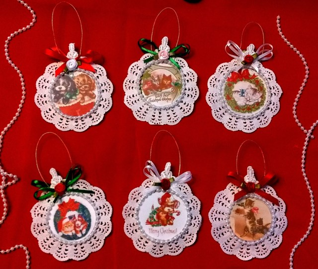 Set Of  Handmade Vintage Style Victorian Christmas Card Tree Ornaments Animals
