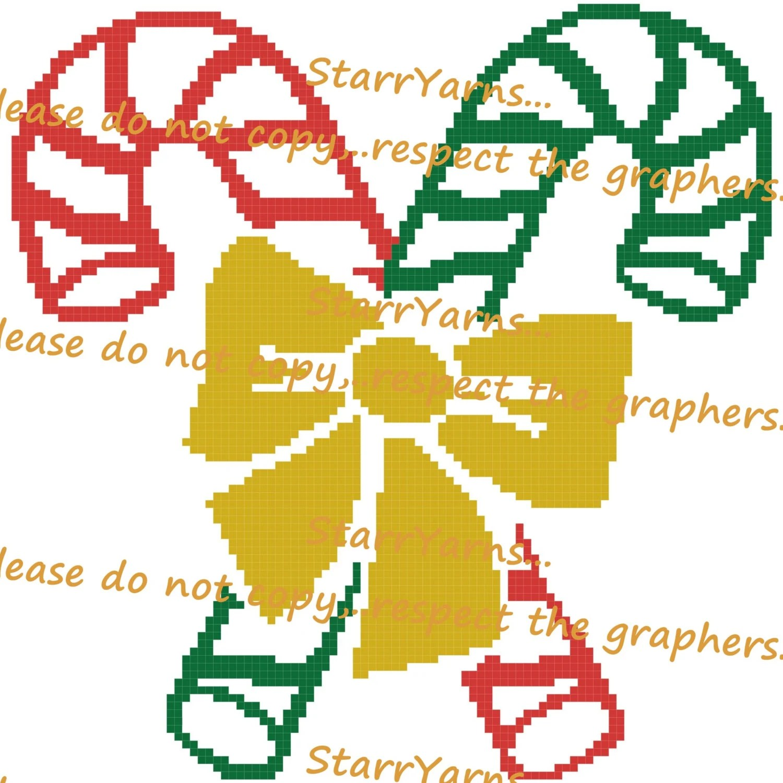 Candy Cane Crochet Graph Pattern