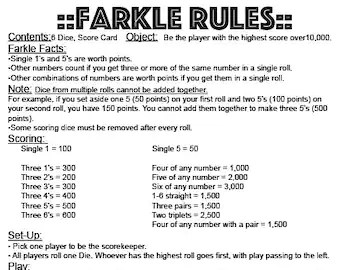 photograph relating to Yardzee Rules Printable referred to as Farkle Cube Activity Pointers Printable Online games Environment