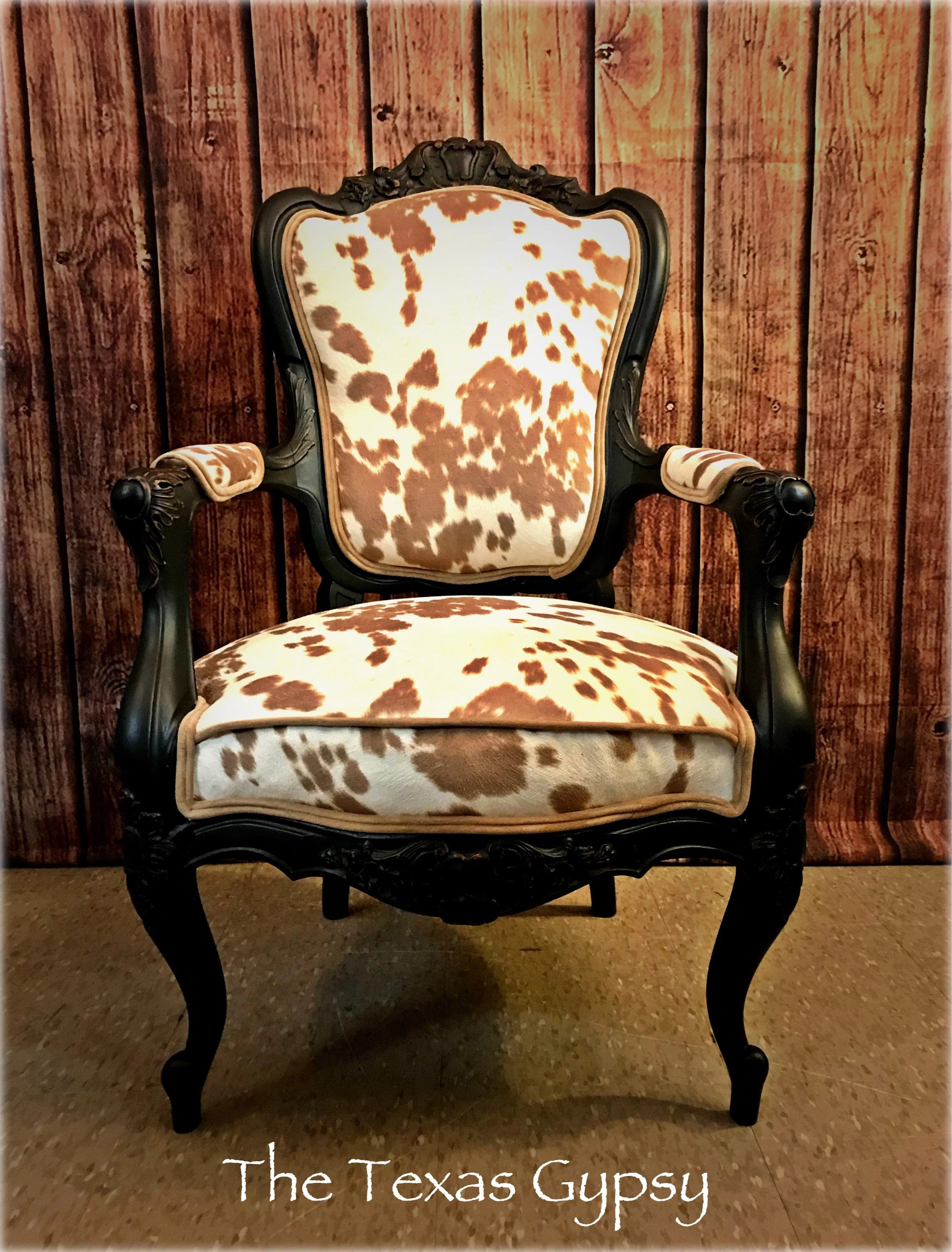 Cow Hide Chair Cow Hide Print Accent Dining Room Victorian Chair