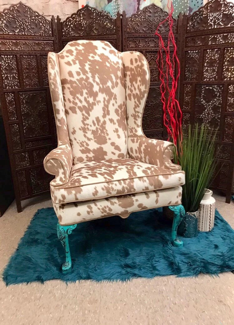 Cow Hide Chair Available Boho Style Turquoise Cow Hide Accent Chair Wingback Chair Arm Chair Accent Chair