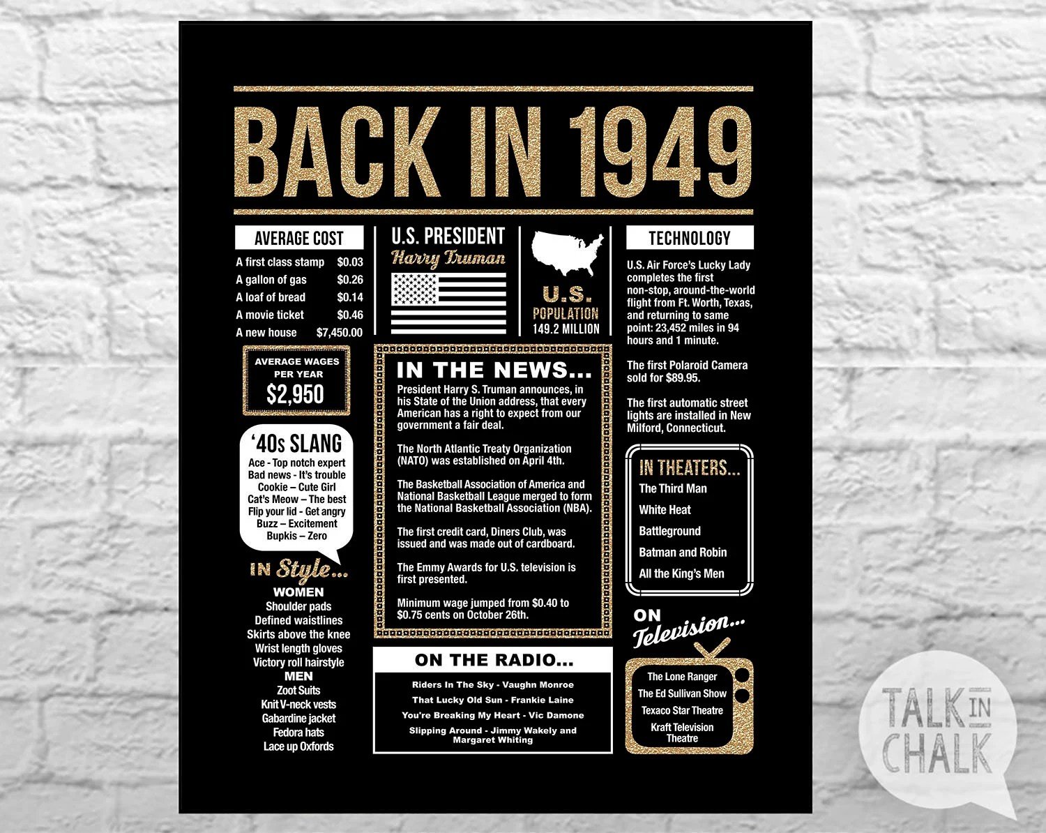 Back In 1949 Black And Gold PRINTABLE Poster 70th Birthday