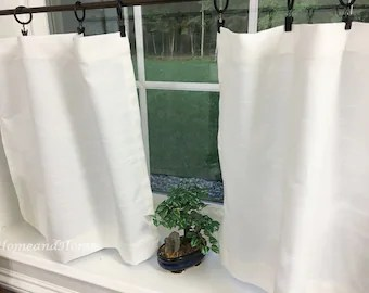 kitchen cafe curtains affordable remodel valance grey valancen unlined or etsy white slub linen look tiers curtain custom window treatments