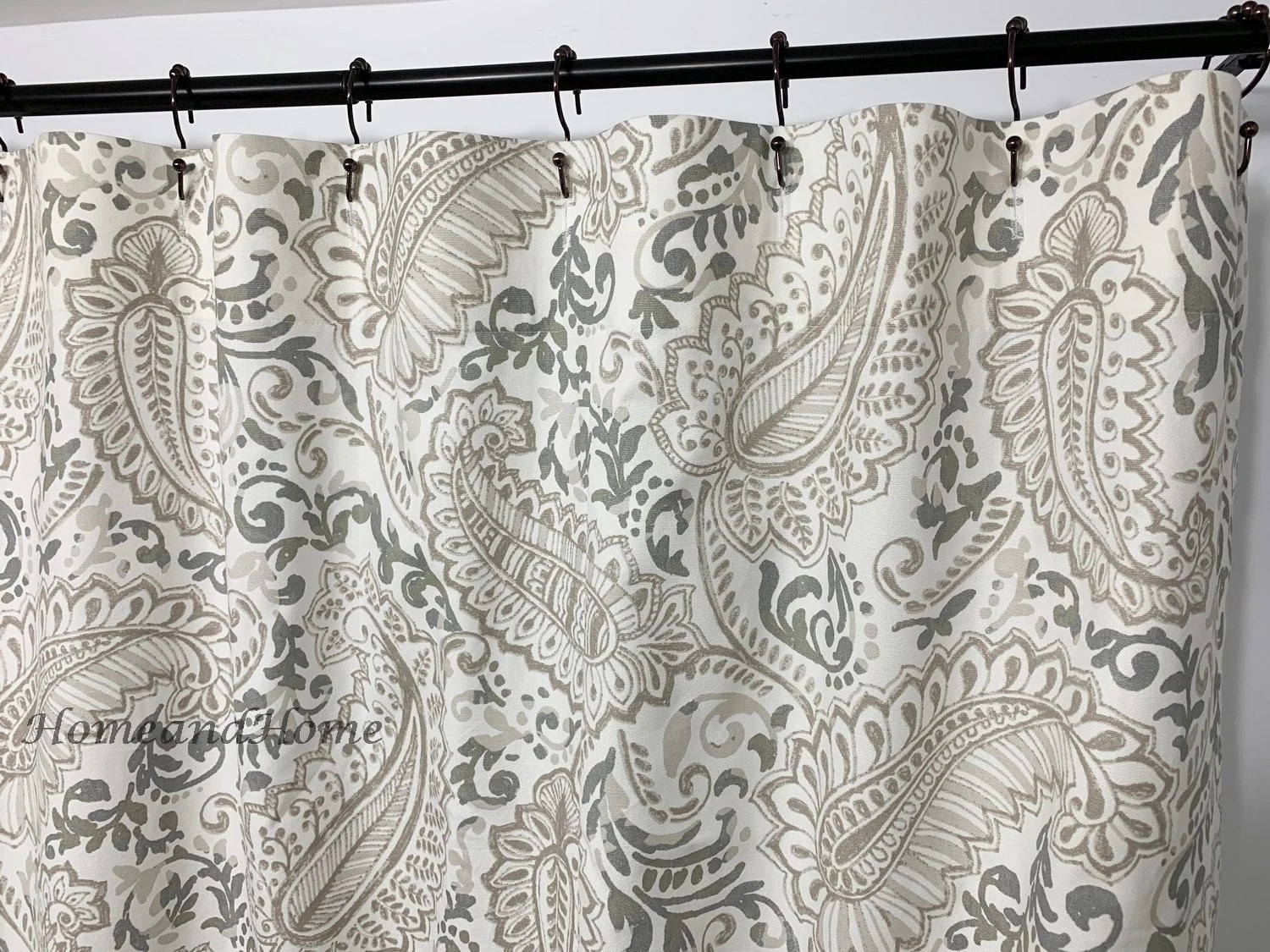 paisley shower curtain ecru taupe off white 72 x 84 108 custom shower curtain fabric shower curtain long shower curtain extra shower curtain