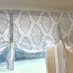 Blue Kitchen Valance Wood Table Sets Tie Up Curtain Snowy Gray White Etsy Image 0