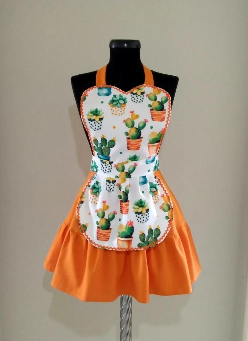 cute kitchen aprons cabinet brands cactus apron for women etsy image 0
