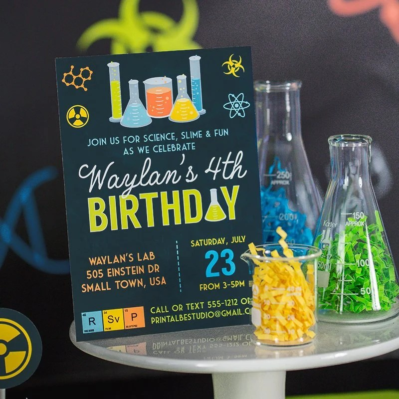 printable mad science birthday party