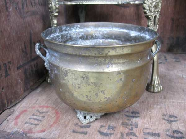 Brass Plant Pot Footed Planter Antique