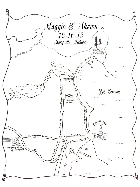 Custom Wedding Map Printable DIY Map of Wedding Ceremony