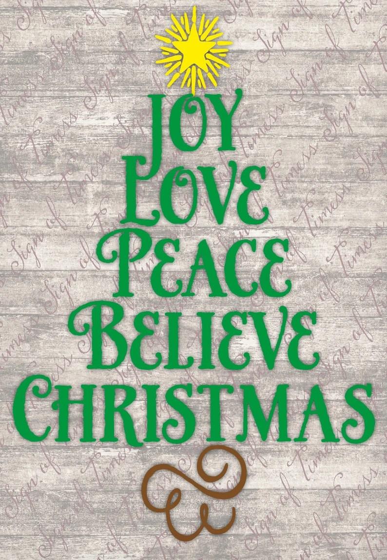 Download Christmas SVG DFX PNG Joy Love Peace Believe Cricut   Etsy
