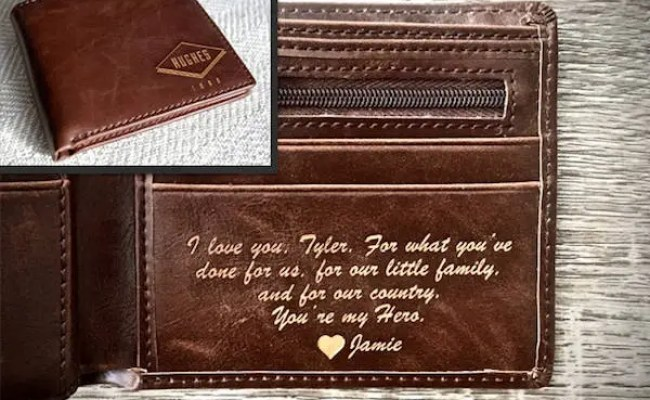 Boyfriend Gift Personalized Mens Wallet Husband Gift Etsy