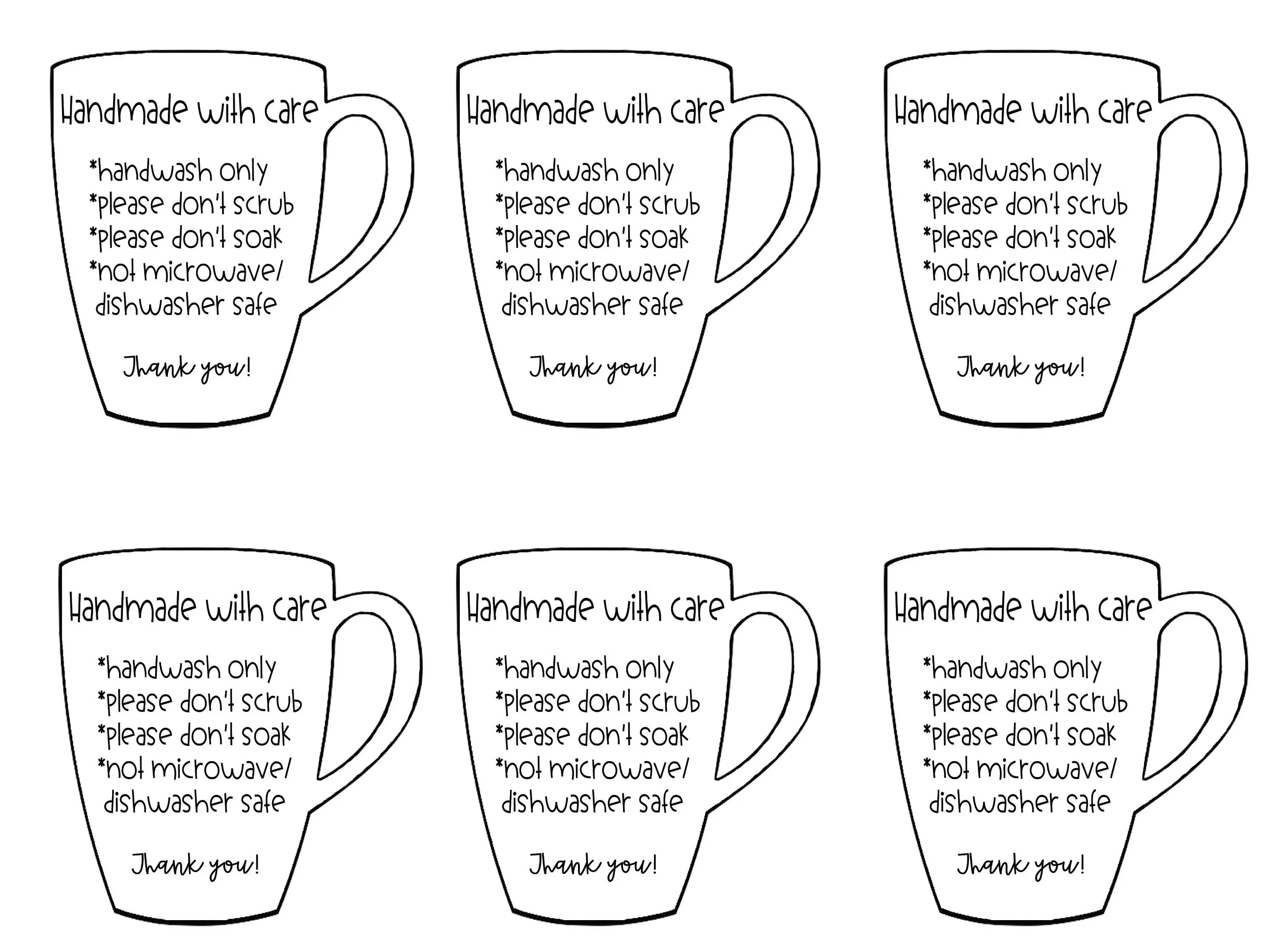 Care Instructions For Mugs and Cups Digital Files from