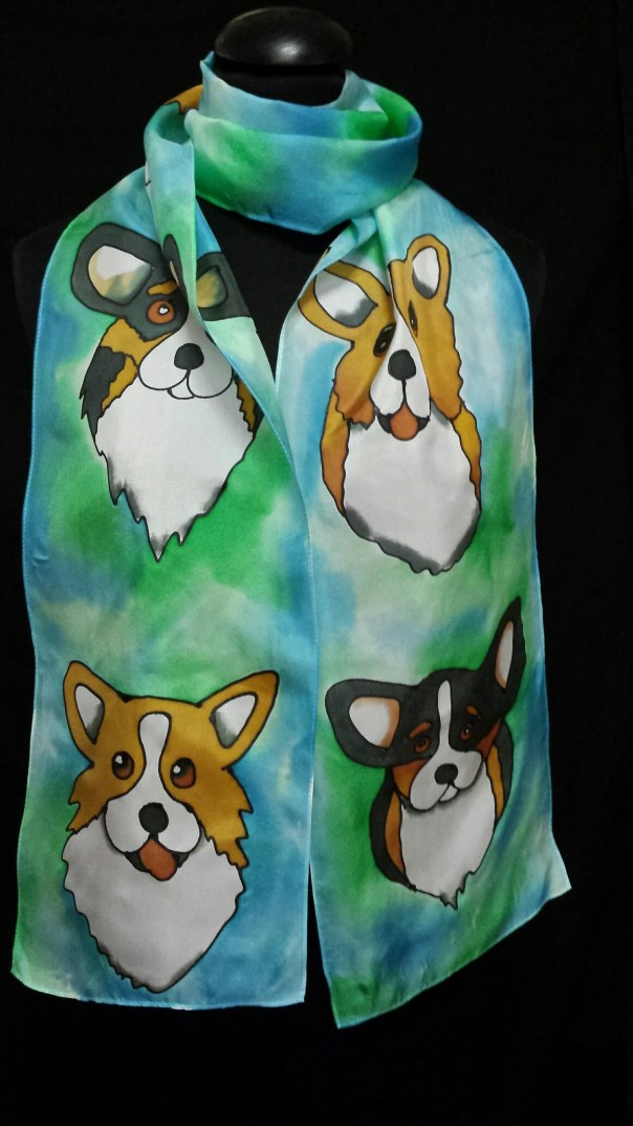 Pembroke Welsh Corgi Silk Scarf. Original Whimsical Hand Drawn Corgis by artist Canine, Custom Designs of your Pet availabl, free ship USA