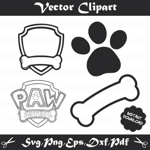 Logo Paw Patrol pink girl for Mum to print and cut 11 x 8 high