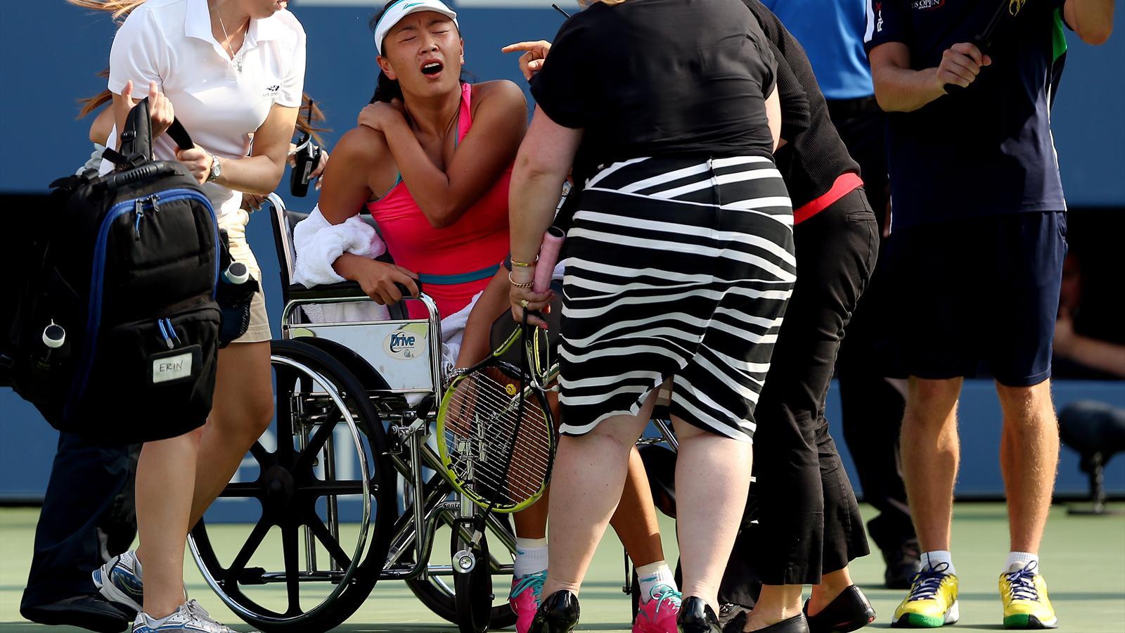wheelchair emirates x rocker gaming chair power cord peng leaves in as wozniacki makes final us