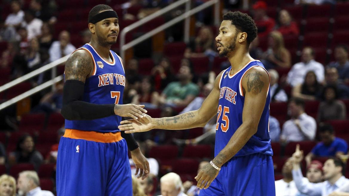 Carmelo Anthony et Derrick Rose lors d'un match de pré-saison des New York Knicks
