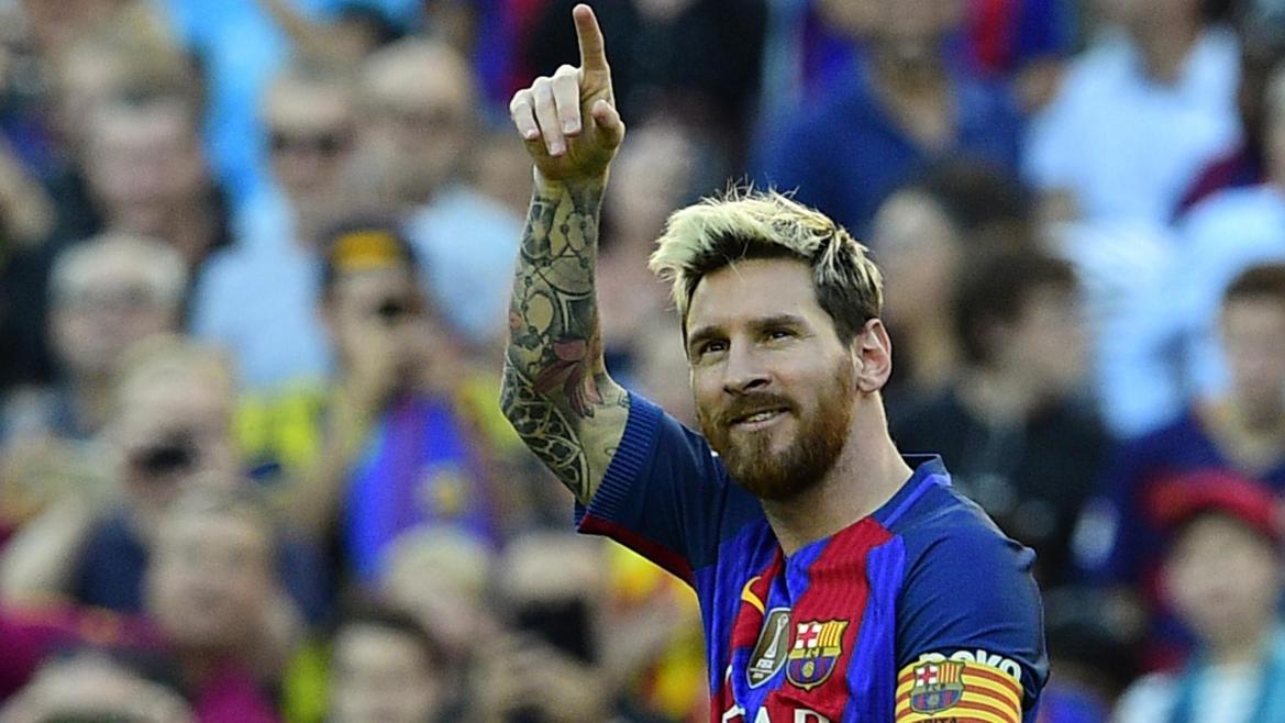 Lionel Messi célèbre son but face à La Corogne, le 15 octobre 2016