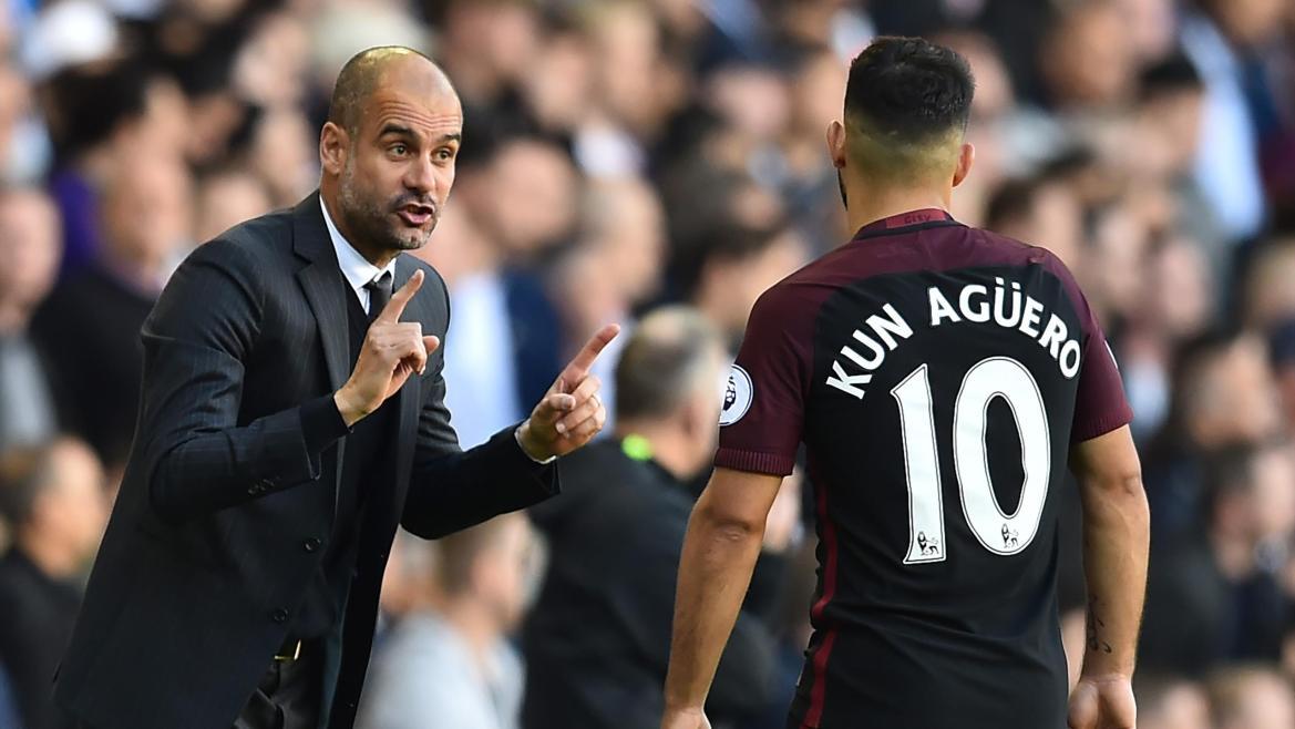 Sergio Agüero et Josep Guardiola (Manchester City)