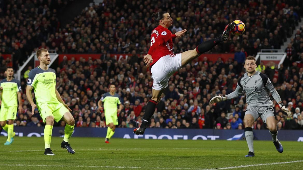 Zlatan Ibrahimovic lors de Manchester United - Liverpool - 2017