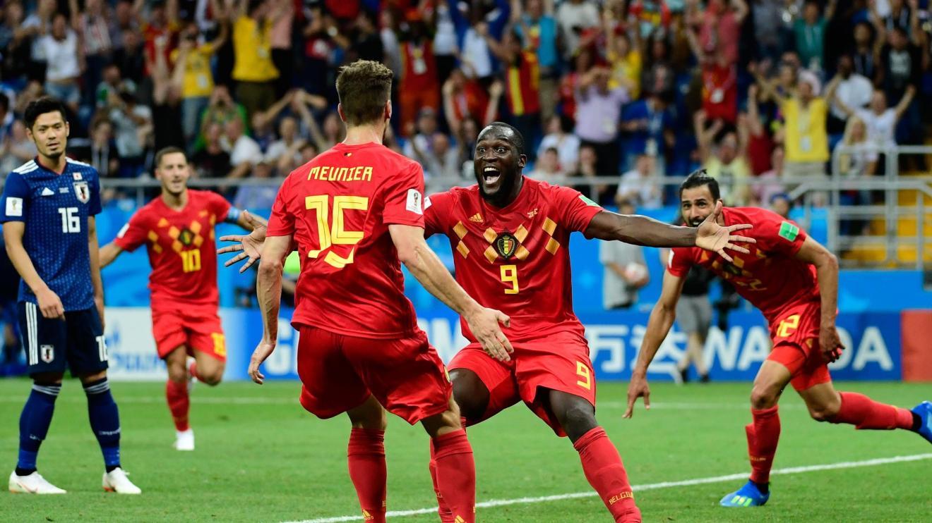 Meunier et Lukaku savourent le dernier but de la Belgique contre le Japon, en huitième de finale du Mondial.