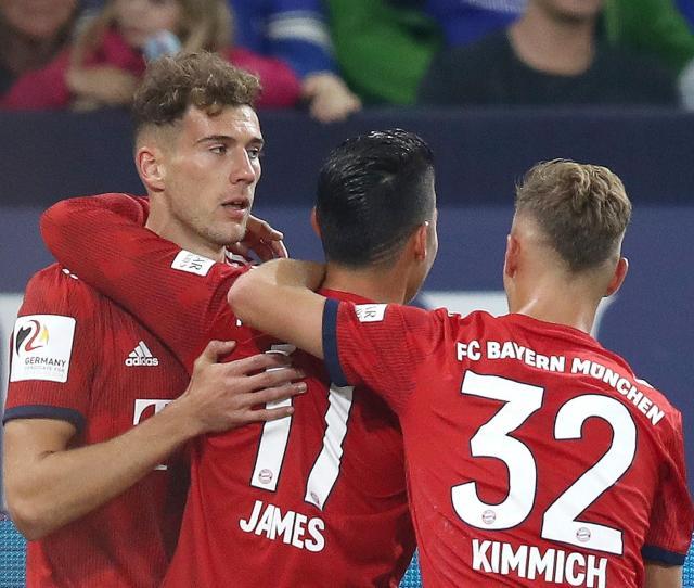 James Rodriguez Of Bayern Munich Celebrates With Teammates