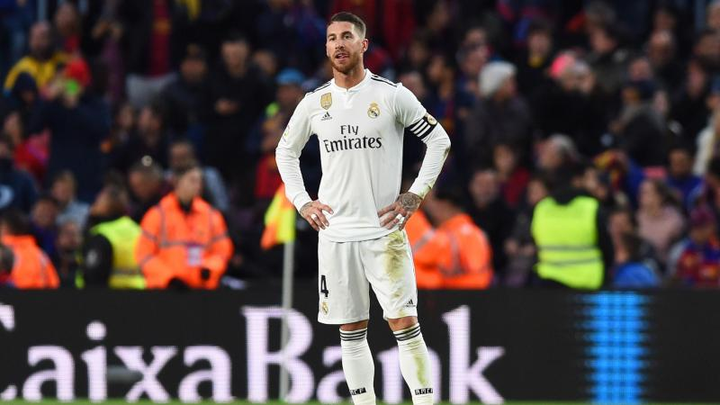 Sergio Ramos of Real Madrid looks dejected as Luis Suarez of Barcelona scores his sides third goal during the La Liga match between FC Barcelona and Real Madrid CF at Camp Nou on October 28, 2018 in Barcelona, Spain