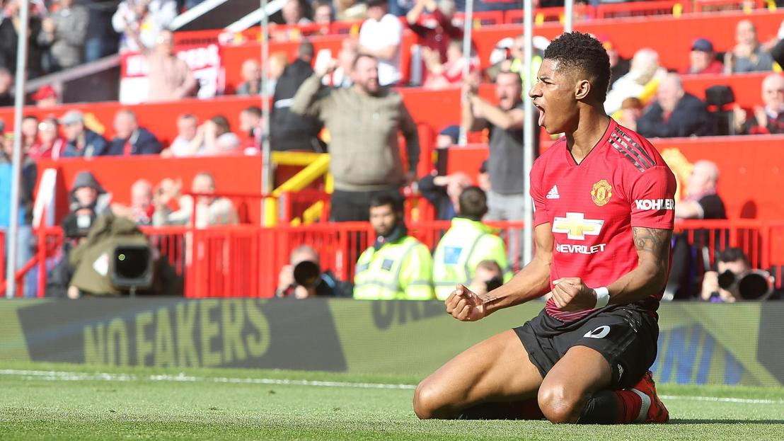 Marcus Rashford of Manchester United celebrates scoring their first goal during the Premier League match between Manchester United and Watford FC at Old Trafford on March 30, 2019 in Manchester, United Kingdom.