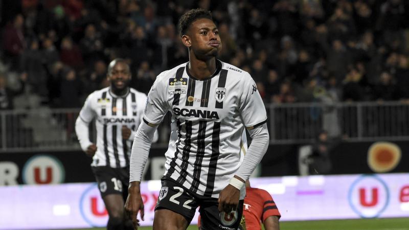 Jeff Reine-Adélaïde fête un but lors de la rencontre Angers-Stade Rennais / Ligue 1