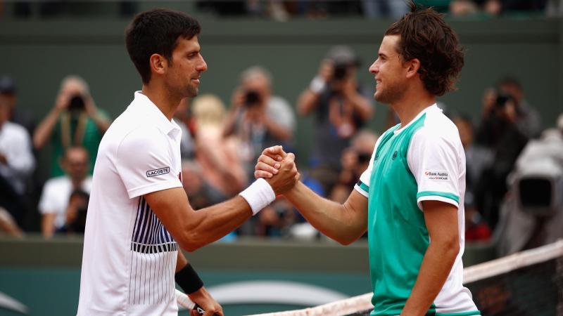 Novak Djokovic et Dominic Thiem à Roland-Garros en 2017