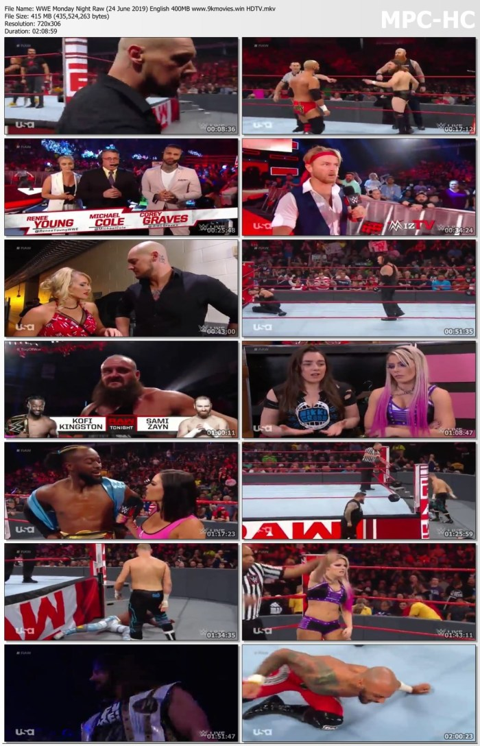 Download WWE Monday Night Raw 24 June 2019 415MB Watch Online