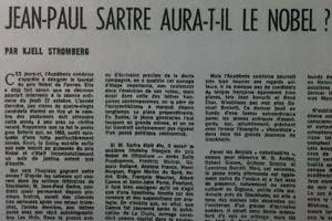Jean-Paul Sartre aura-t-il le Nobel? s'interroge le Figaro littéraire le 15 octobre 1964.