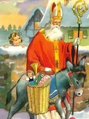 Saint Nicolas distribuant les jouets