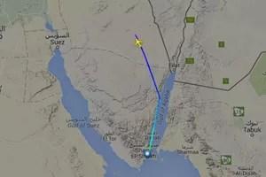 Tracé du vol de l'avion avant sa disparition des écrans radar selon le site Flightradar24.