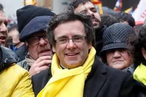 L'ex-président catalan Carles Puigdemont pendant la manifestation.