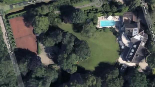 Vue aérienne de la propriété de Johnny et Laeticia Hallyday à Marnes-la-Coquette (Hauts-de-Seine)