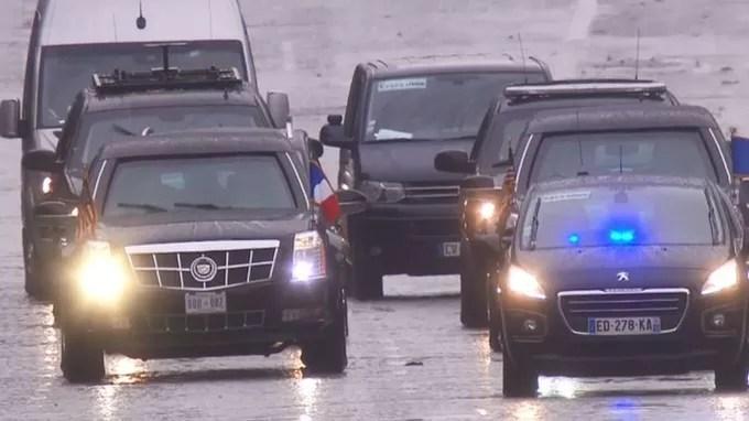 Trump a utilisé sa propre voiture pour se rendre à l'Arc de triomphe.