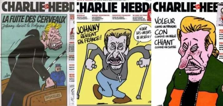 Les Unes de Charlie  Hebdo caricaturant Johnny Hallyday.