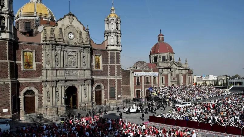 L'arrivée du Pape à la Basilique de la Vierge de Guadalupe.